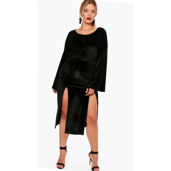 fe93a0e56334 Boohoo Plus Dresses | Long Bell Sleeve Velvet Midi Dress | Poshmark